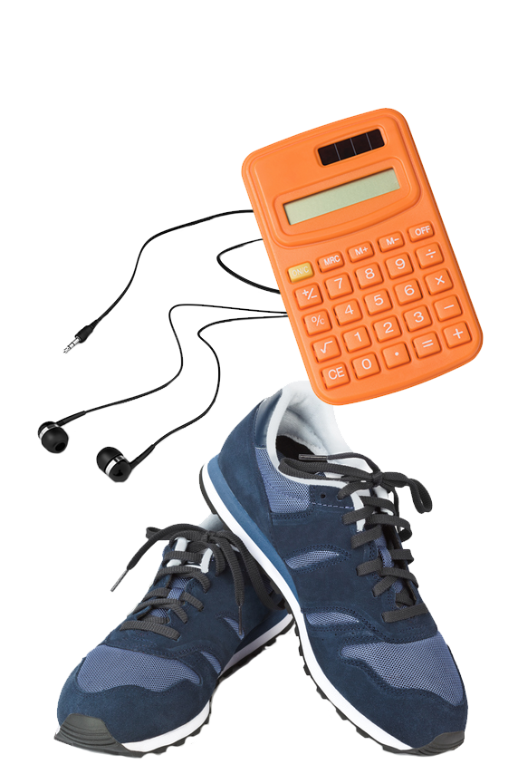 Donation supplies of earphones, calculator and shoes.